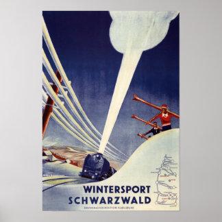 Alemania - esquí en el bosque negro póster