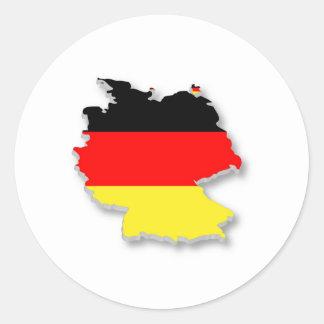 Alemania Fla en la forma de Alemania Etiquetas Redondas