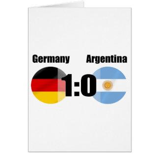 Alemania la 1 Argentina 0 mundos del fútbol Tarjeta De Felicitación