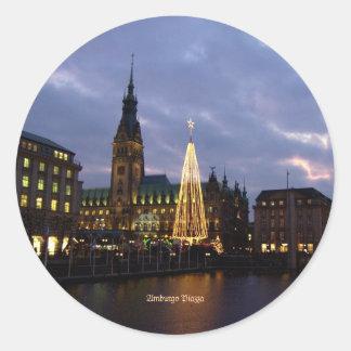Alemania: Plaza de Amburgo, Alemania Pegatina Redonda