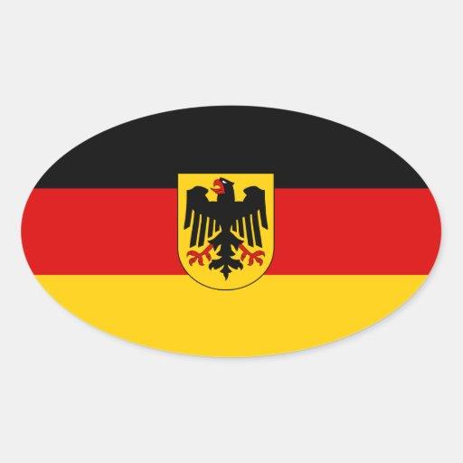 Alemania tricolora con el escudo de armas calcomania de ovaladas