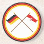 Alemania y banderas cruzadas Brandeburgo Posavasos Manualidades