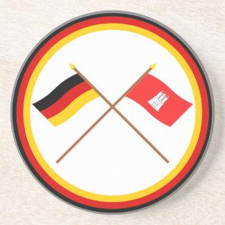 Alemania y banderas cruzadas Hamburgo Posavasos Manualidades