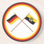 Alemania y banderas cruzadas Sajonia-Anhalt Posavasos Manualidades