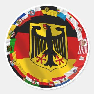 Alemania y sus Lander que agitan banderas Pegatina Redonda
