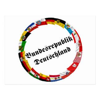 Alemania y sus Lander que agitan banderas Tarjeta Postal