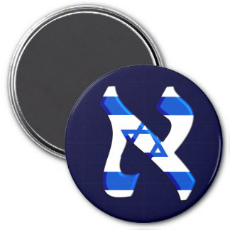 Aleph Israel.png 3 Inch Round Magnet