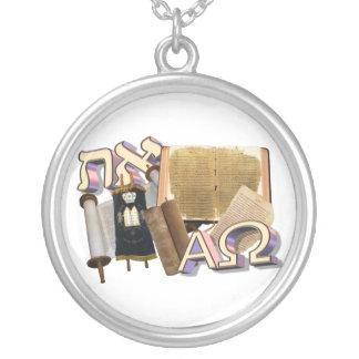 Aleph Tav / Alpha Omega Silver Plated Necklace