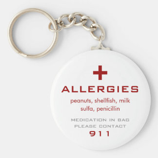 Alergias médicas llavero redondo tipo pin