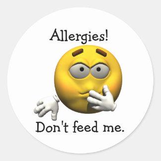 ¡Alergias! No me alimente Pegatina Redonda