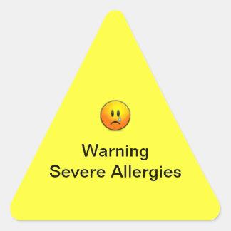 Alergias severas amonestadoras pegatina triangular