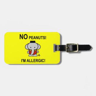 Alérgico a los cacahuetes etiquetas maletas