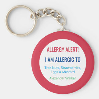 Alérgico personalizada alarma de la alergia de los llavero redondo tipo pin