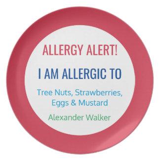 Alérgico rojo personalizada alarma de la alergia platos para fiestas