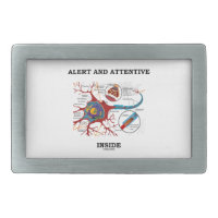 Alert And Attentive Inside (Neuron / Synapse) Rectangular Belt Buckle