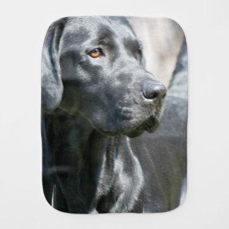 Alert Black Labrador Retriever Dog Burp Cloths