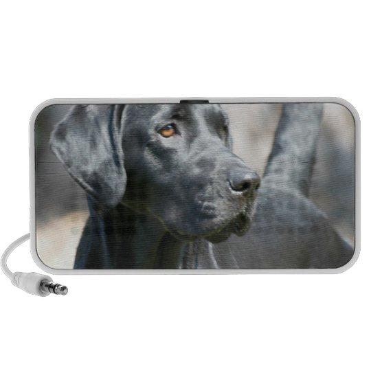 Alert Black Labrador Retriever Portable Speakers
