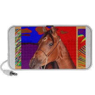 Alert Cute Brown HORSE : Stallion Racer Travelling Speakers