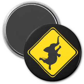 Alert: Dancing Elephant Xing! 3 Inch Round Magnet