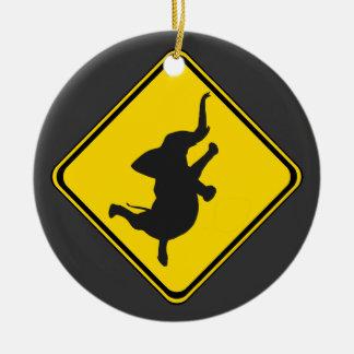 Alert: Dancing Elephant Xing! Ceramic Ornament