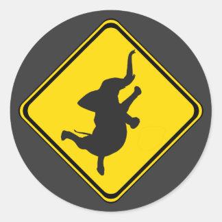 Alert: Dancing Elephant Xing! Classic Round Sticker