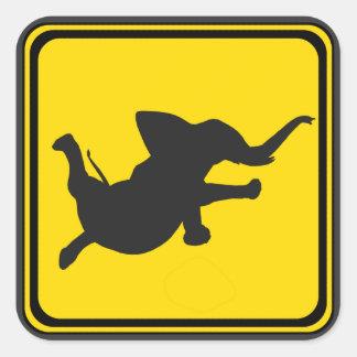 Alert: Dancing Elephant Xing! Square Sticker