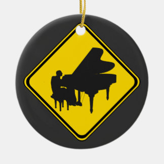 Alert: Piano Player Ahead! Double-Sided Ceramic Round Christmas Ornament