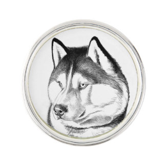 Alert Siberian Husky Dog Lapel Pin