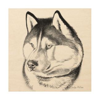 Alert Siberian Husky Dog Wood Wall Art