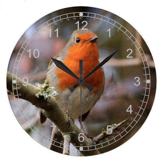 Alert  Winter Robin Large Clock