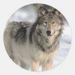 Alert Wolf Round Stickers