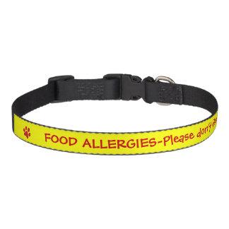 Alerta-Amarillo médico de la alergia alimentaria Collar Para Perro