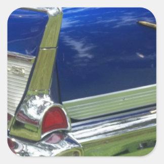 Aleta 1957 y defensa posteriores de un azul chevy pegatina cuadrada