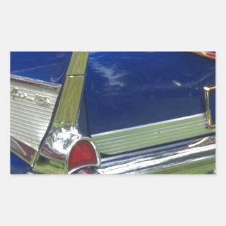 Aleta 1957 y defensa posteriores de un azul chevy pegatina rectangular