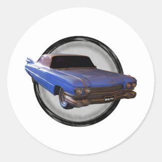 Aleta azul grande Cadillac 1959 Pegatina Redonda