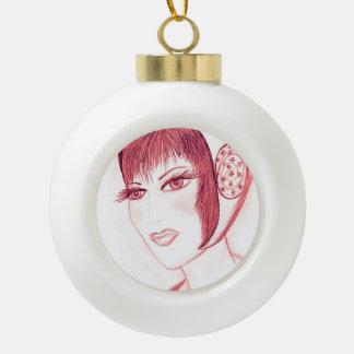 Aleta bonita en rojo adorno de cerámica en forma de bola