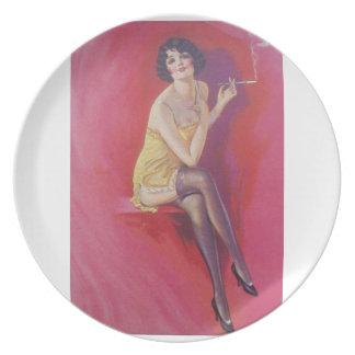 aleta de Deco de los años 20 con la placa del tene Platos De Comidas