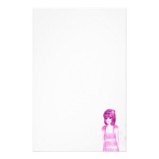 Aleta de la chica marchosa en rosas fuertes papelería