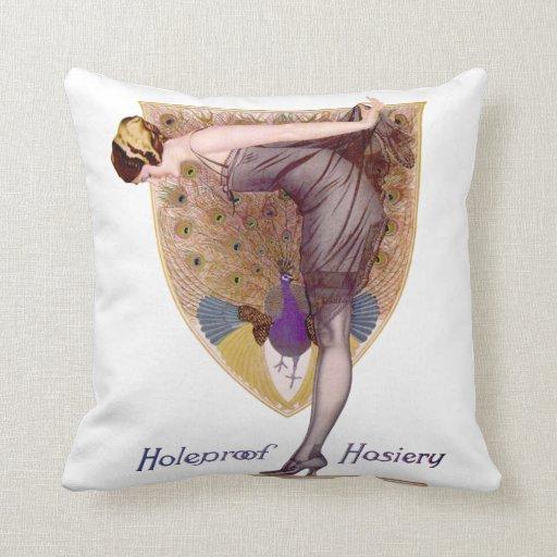 Aleta de la mujer del pavo real del vintage almohadas