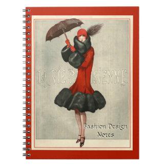 Aleta de los años 20 de ArtDeco/cuaderno del Libreta Espiral