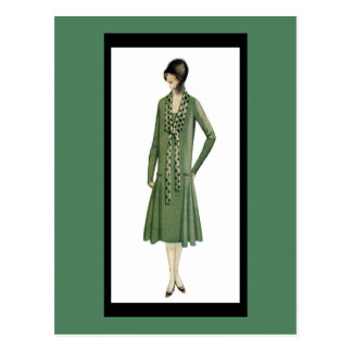 aleta de los años 20 en postal verde