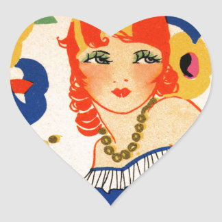 aleta de los años 20 pegatina en forma de corazón