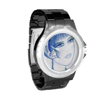 Aleta de lujo en azules reloj