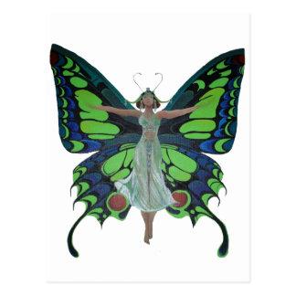Aleta del vintage con las alas de la mariposa postales