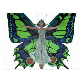 Aleta del vintage con las alas de la mariposa tarjeta postal