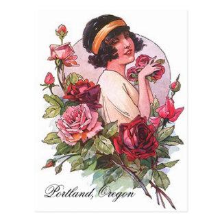 Aleta del VINTAGE con los rosas Portland O la Tarjeta Postal
