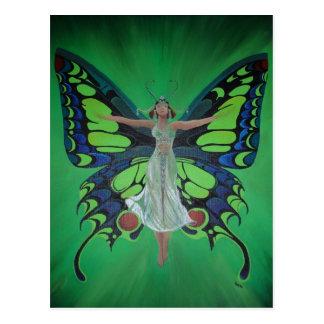 Aleta del vintage de Nouveau del arte con las alas Postal