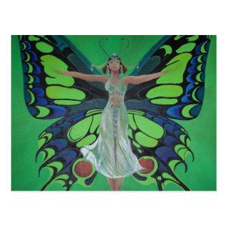 Aleta del vintage de Nouveau del arte con las alas Postales