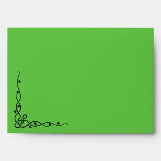 Aleta delantera e interior verde clara del sobre,  sobres