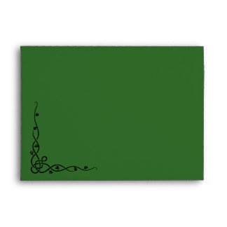 Aleta delantera e interior verde oscuro del sobre, sobre